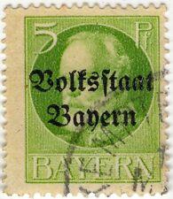 1 timbre BAVIERE 1919 oblitéré avec surcharge Volksstaat Bayern Michel 95