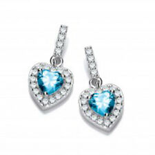 Sterling Silver Heart with Blue Topaz Centre Stone Stud Earrings (5274)