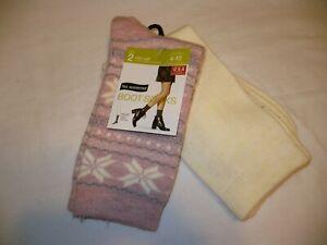 No Nonsense Women's Mid Calf Boot Socks Shoe Size 4-10 Pink Snow Flake 2 Pair