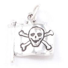 PIRATE FLAG Skull Cross Bones Sterling Silver Bracelet Pendant Charm 2 SIDED 925