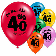 10 Multi Coloured 40th Birthday Party Printed Latex Balloons