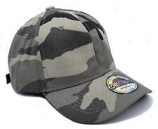 Cappy Cap Kappe Herren 100% Baumwolle gebogener Schirm Strapback Plain Camo grau