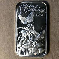1978 Madison Mint Happy Birthday 1 Ounce .999 Silver Art Bar