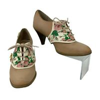 Bass by Rachel Antonoff Heels Women's Size 6.5 Lewisa Leather Lace Up Floral
