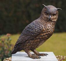 Bronzeskulptur Eule Uhu Dekoration für Heim und Garten