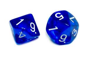 10 Seitige Transparente Würfel W10/ 1-10 versch. Farben/Packs Grün/Rot/Blau/Gelb