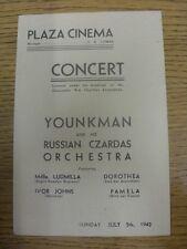 """05/07/1942 Guerra Mundial 2: en Plaza cine Gloucester, programa de concierto """"younkman"""