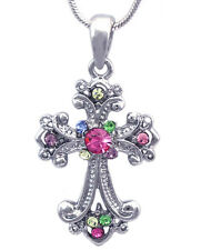 Colorful Christian Catholic Small Cross Pendant Necklace Girl Jewelry n2006mt