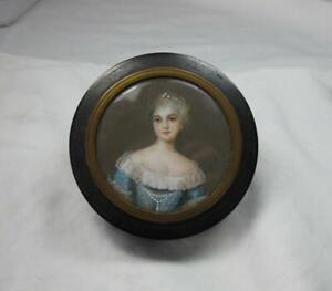 Portrait Miniature Box Victorian 19th Century Signed Fine Hand Painted Details