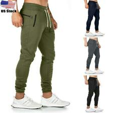 Mens Gym Skinny Trousers Tracksuit Bottoms Slim Fit Joggers Sweat Track Pants US