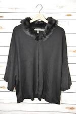 $80 NWT Alfani Womens Medium Black Long Sleeve Fur Trim Sweater