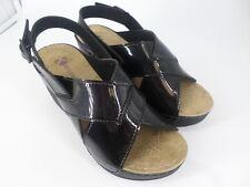ladies Low Wedge Ankle Strap Peep Toe Sandals Black UK 4 EU 37 LN23 39