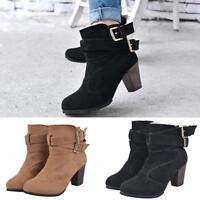 Women High Heel Block Ankle Suede Boots Ladies Buckles Zipper Platform Sh Gift