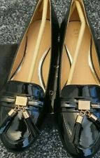 Ladies Lipsy Black Patent Flat Loafer Style Shoes Size 6 New