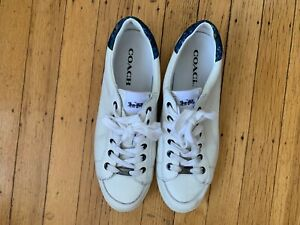 COACH white leather tennis sneaker boat shoe floral heel 8.5