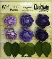 PURPLE 6 Mini GARDEN ROSETTE Paper Flowers 25-30mm & 6 Leaves Darjeeling Petaloo
