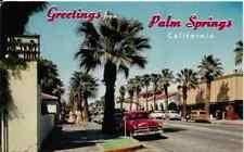"Palm Springs CA  ""Palm Canyon Drive Downtown"" 1950's Cars Postcard  California"