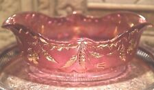 EAPG DELAWARE US GLASS ROSE PINK GOLD BLUSH THISTLE OPEN BOWL DISH