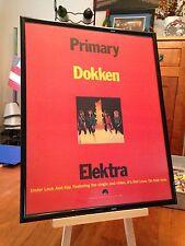 """BIG 11X14 FRAMED ORIGINAL DOKKEN """"UNDER LOCK AND KEY"""" LP ALBUM CD PROMO AD"""