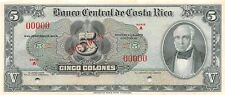 Costa Rica  5  Colones  ND. 1950's  P 220s  Series A  Uncirculated Banknote