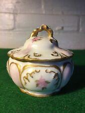 Vintage Victorian Trinket Box Handpainted Made In France Bone China Very Nice!