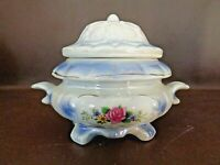 Small Vintage Porcelain Footed Tureen Or Bowl With Cover (#4A049)