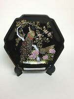 "Vtg Asahi Black Hexagonal Japanese Porcelain Decorative Gold Peacock 7"" Plate"