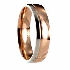 Edelstahl Bicolor silber / roségold Ring Partnerring Ehering mit  Gravur 10166