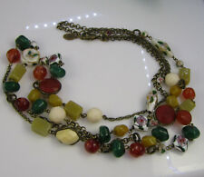 Vintage Estate Signed AC Cloisonne Brass Art Glass Bead Double Strand Necklace