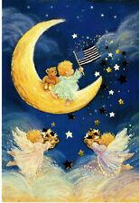 Vintage Christmas Card: PAtriotic Little Angels w. Flags