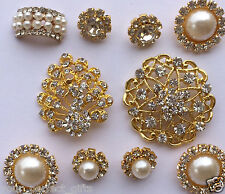 10 Assorted Gold Crystal Rhinestone Button Brooch Bouquet Pearl Crystal Hair