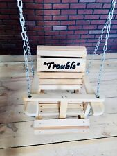 Baby Swing Wooden Cypress with Name Carving and Hanging Chains Made in USA