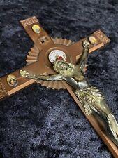 "Vtg 8"" Celluloid Crucifix Rare 1970's Catholic Nuns Home Altar Carmelite Cross +"