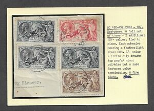 SG450-452 2/6d-10/- GV Seahorses stamps on piece with CDS's.