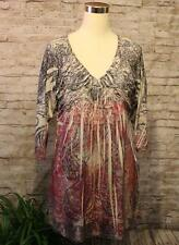 One World Unity World Wear Shirt Tunic XL Floral Silky Pink Gray Sublimation NWT
