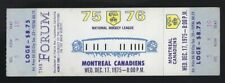 1975-76 NHL MONTREAL CANADIENS @ LOS ANGELES KINGS FULL UNUSED HOCKEY TICKET