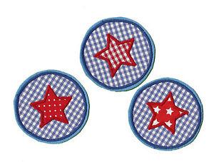 Button mit Stern zum aufbügeln 1 Aufnäher #29 BB# Neu Applikation blau rot