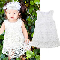 Summer Toddler Kids Baby Girls Sleeveless Lace Party Dress Sundress Clothes US