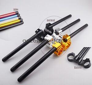41MM CNC Clip Ons Fork Tube Handle Bars handlebars For Honda Kawasaki Suzuki