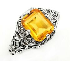 Nouveau Style Ring Sz 9, Fl4 2Ct Golden Citrine 925 Solid Sterling Silver