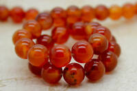 Carnelian Smooth Round Natural Sphere Ball Gemstone Beads (4mm 6mm 8mm 10mm)