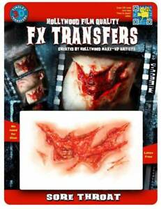 Sore Throat 3D FX Transfer Easy to Apply Looks Real Wounds & Cuts by Tinsley