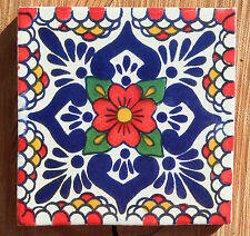"""10~Talavera Mexican 4"""" tile pottery hand painted POBLANCO RED Cobalt Blue Green"""