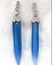 1.00ct. DIAMOND LONG BLUE LAVENDER COLOR CHALCEDONY DANGLE EARRINGS+