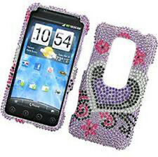 For HTC EVO 3D Bling Diamond Hard Protector Case Phone Snap on Cover Purple Love