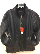 Andrew Marc New York Men's Faux Fur Leather Zip Bomber Jacket Black Size Medium