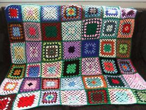 Crochet Crocheted Granny Blanket Vintage Retro Campervan 102cm x 112cm Reborn