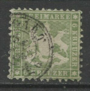 1862 German States WURTTEMBERG  6 Kreuzer Cote of Arms  used,  $ 240.00