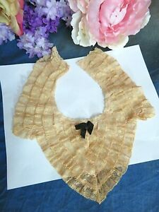 """ANTIQUE lace COLLAR For VINTAGE DOLL clothes PEACHY ECRU ruffled 9.5 x 5"""""""