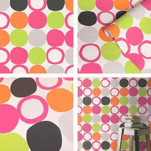 Multi coloured, Retro 60's Design, Dots & Loops Wallpaper